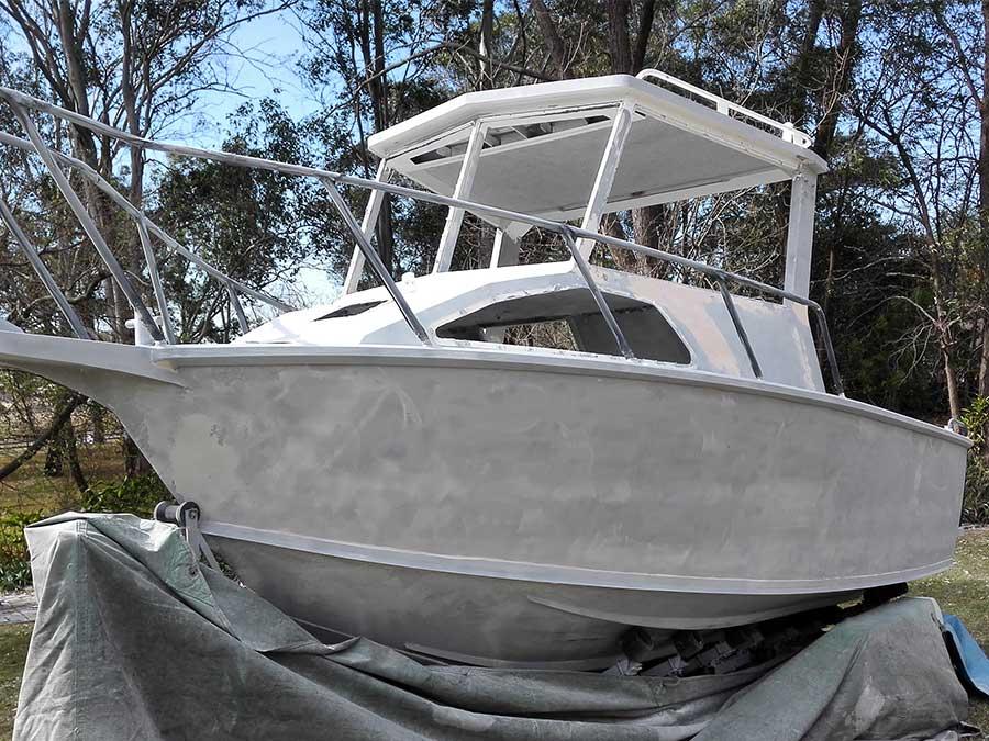 aluminium boat after soda blasting