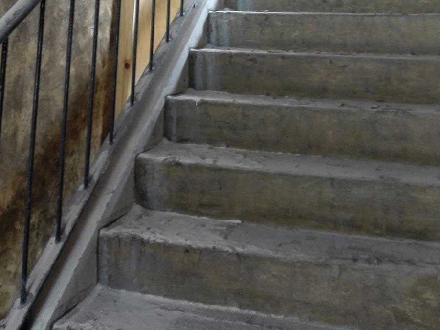 Cleaning fire damaged stairwell