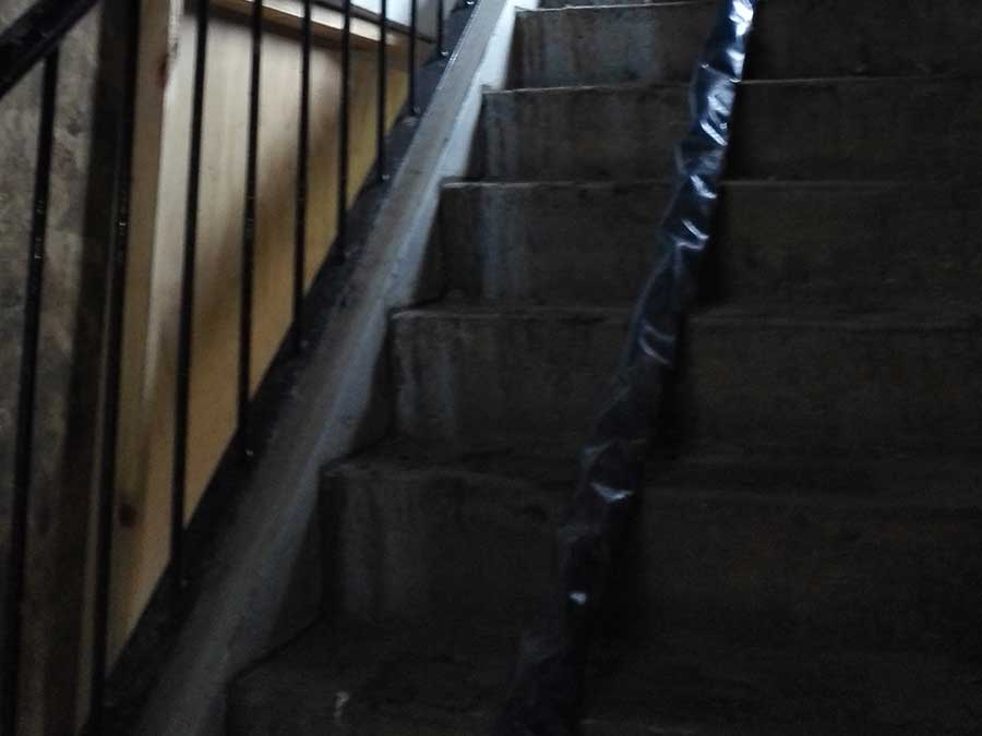 Cleaning fire damage stairwell
