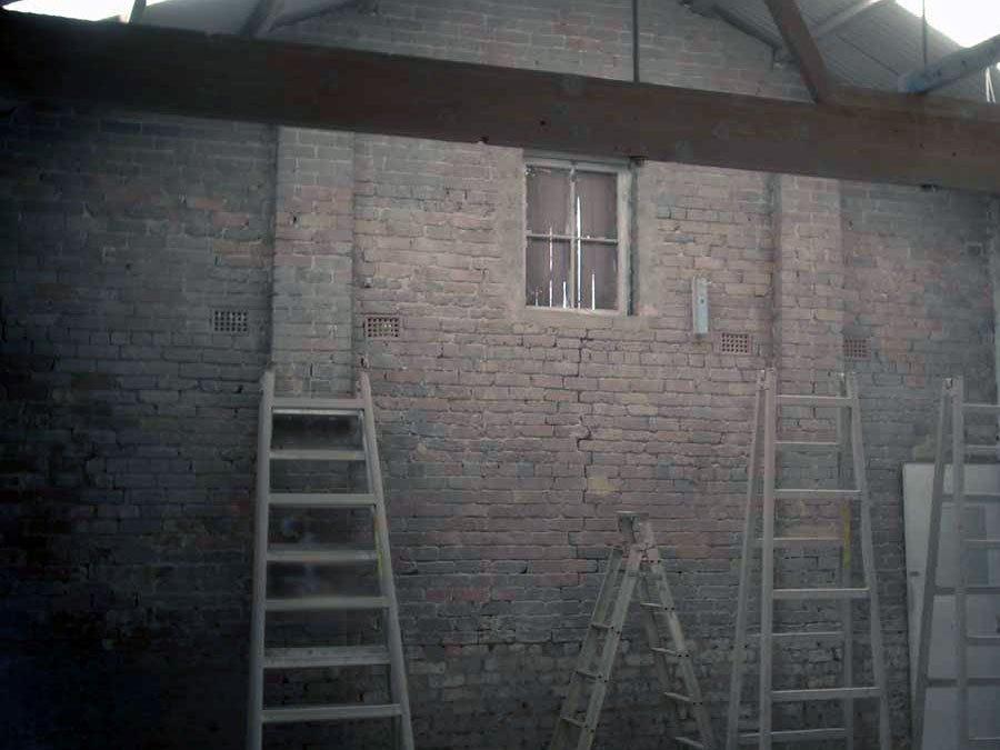 warehouse after soda blasting